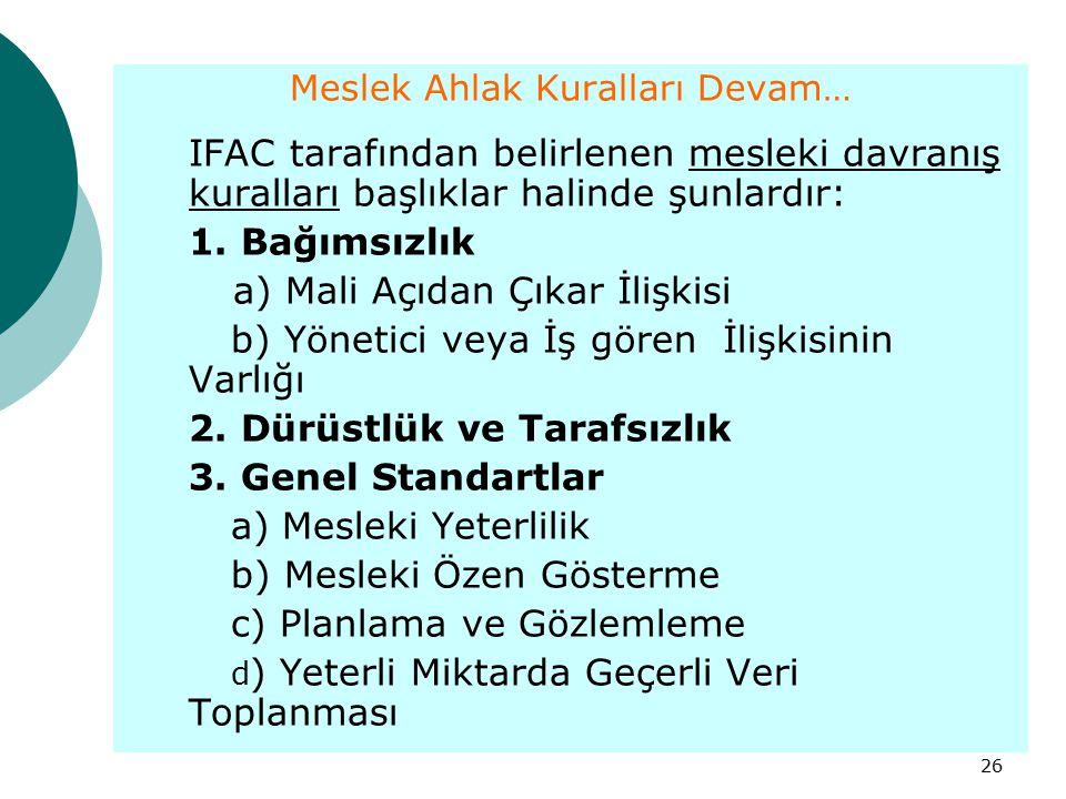 26 Meslek Ahlak Kuralları Devam… IFAC tarafından belirlenen mesleki davranış kuralları başlıklar halinde şunlardır: 1. Bağımsızlık a) Mali Açıdan Çıka