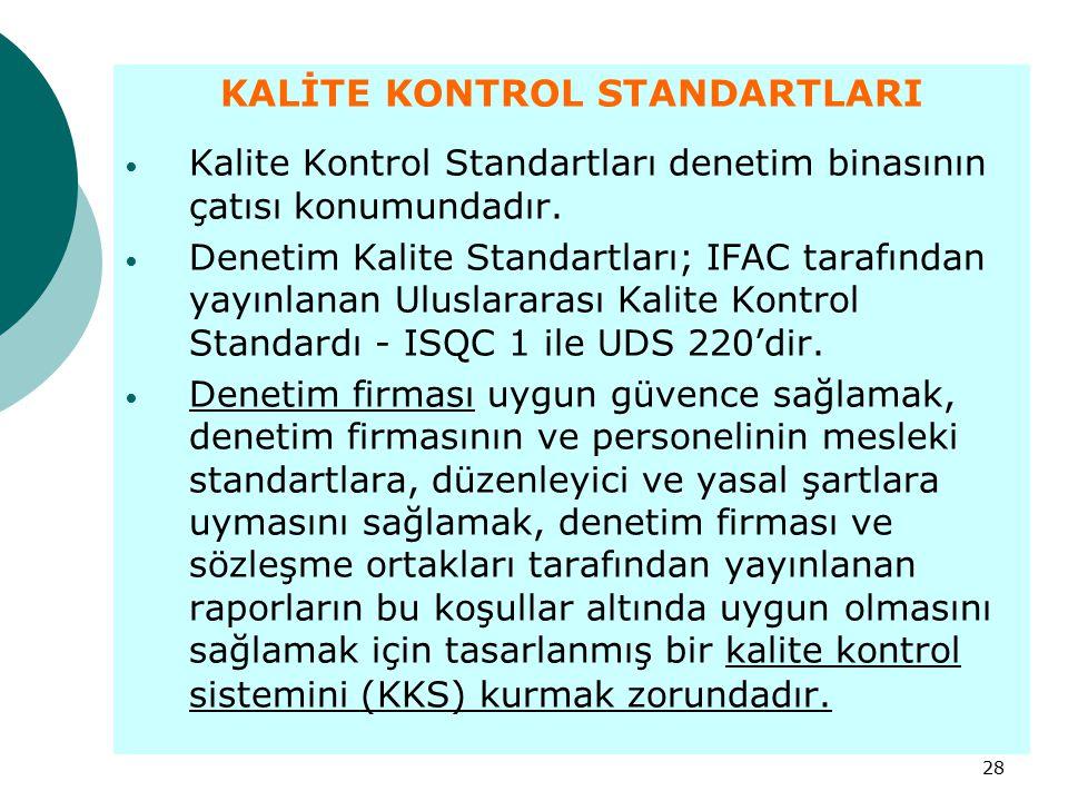 28 KALİTE KONTROL STANDARTLARI Kalite Kontrol Standartları denetim binasının çatısı konumundadır. Denetim Kalite Standartları; IFAC tarafından yayınla