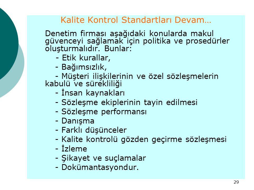 29 Kalite Kontrol Standartları Devam… Denetim firması aşağıdaki konularda makul güvenceyi sağlamak için politika ve prosedürler oluşturmalıdır. Bunlar