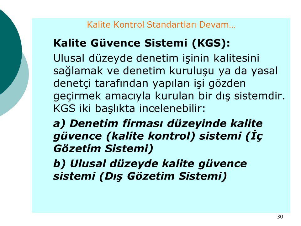 30 Kalite Kontrol Standartları Devam… Kalite Güvence Sistemi (KGS): Ulusal düzeyde denetim işinin kalitesini sağlamak ve denetim kuruluşu ya da yasal