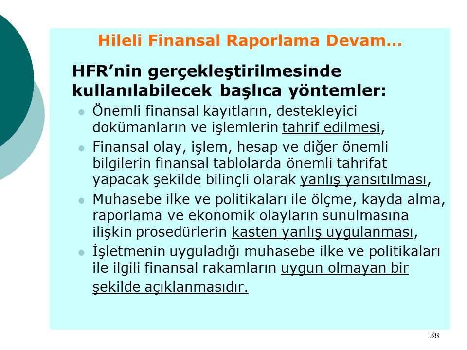 38 Hileli Finansal Raporlama Devam… HFR'nin gerçekleştirilmesinde kullanılabilecek başlıca yöntemler: Önemli finansal kayıtların, destekleyici doküman
