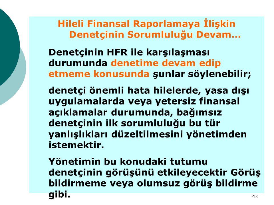 43 Hileli Finansal Raporlamaya İlişkin Denetçinin Sorumluluğu Devam… Denetçinin HFR ile karşılaşması durumunda denetime devam edip etmeme konusunda şu