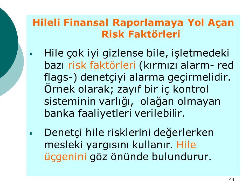 44 Hileli Finansal Raporlamaya Yol Açan Risk Faktörleri Hile çok iyi gizlense bile, işletmedeki bazı risk faktörleri (kırmızı alarm- red flags-) denet