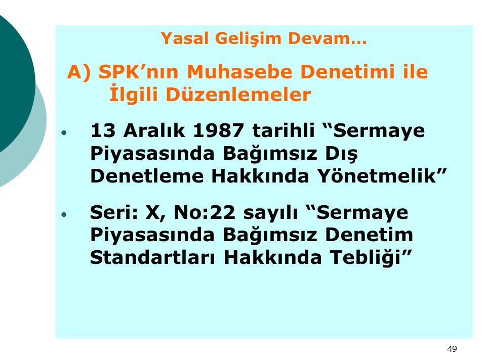 """49 Yasal Gelişim Devam… A) SPK'nın Muhasebe Denetimi ile İlgili Düzenlemeler 13 Aralık 1987 tarihli """"Sermaye Piyasasında Bağımsız Dış Denetleme Hakkın"""