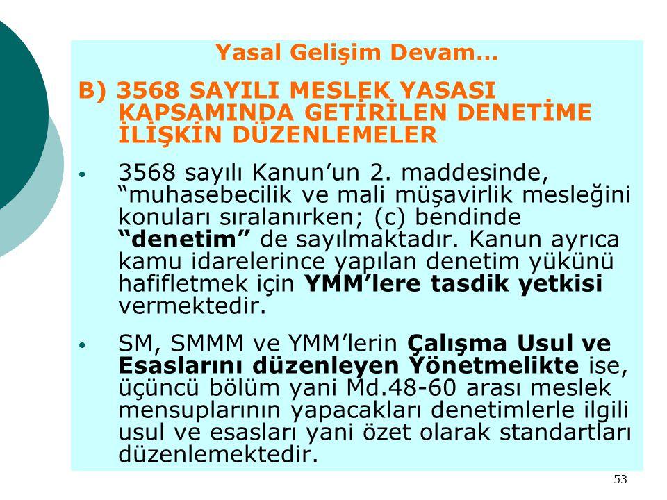 """53 Yasal Gelişim Devam… B) 3568 SAYILI MESLEK YASASI KAPSAMINDA GETİRİLEN DENETİME İLİŞKİN DÜZENLEMELER 3568 sayılı Kanun'un 2. maddesinde, """"muhasebec"""
