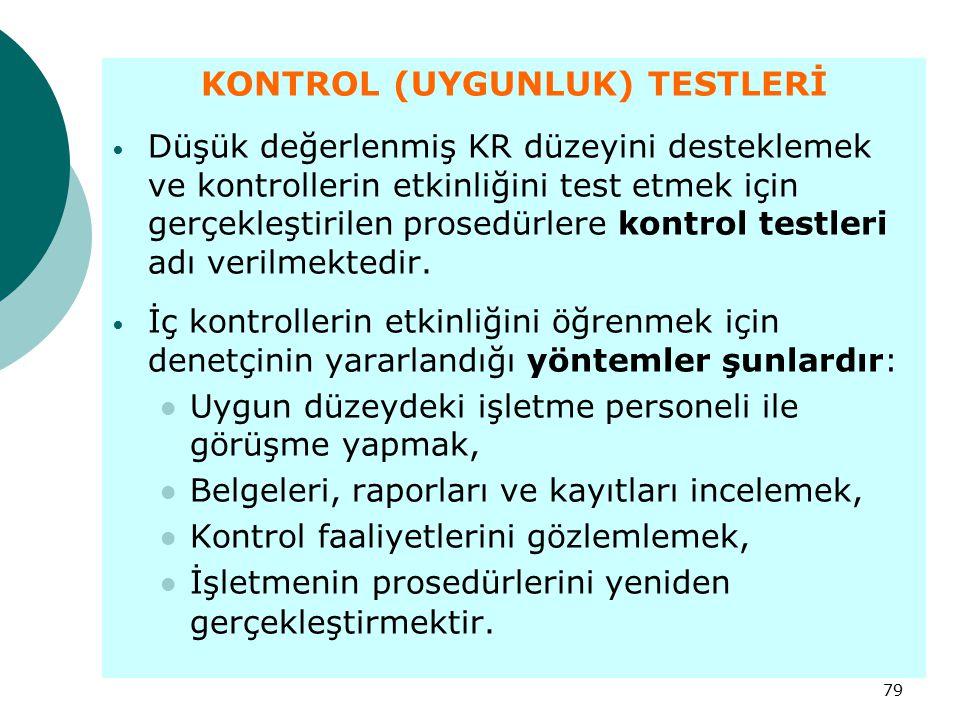 79 KONTROL (UYGUNLUK) TESTLERİ Düşük değerlenmiş KR düzeyini desteklemek ve kontrollerin etkinliğini test etmek için gerçekleştirilen prosedürlere kon