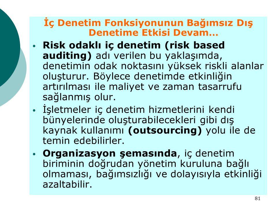 81 İç Denetim Fonksiyonunun Bağımsız Dış Denetime Etkisi Devam… Risk odaklı iç denetim (risk based auditing) adı verilen bu yaklaşımda, denetimin odak