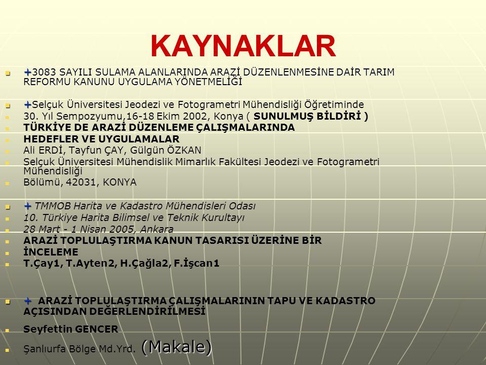 KAYNAKLAR + 3083 SAYILI SULAMA ALANLARINDA ARAZİ DÜZENLENMESİNE DAİR TARIM REFORMU KANUNU UYGULAMA YÖNETMELİĞİ + 3083 SAYILI SULAMA ALANLARINDA ARAZİ DÜZENLENMESİNE DAİR TARIM REFORMU KANUNU UYGULAMA YÖNETMELİĞİ + + Selçuk Üniversitesi Jeodezi ve Fotogrametri Mühendisliği Öğretiminde 30.