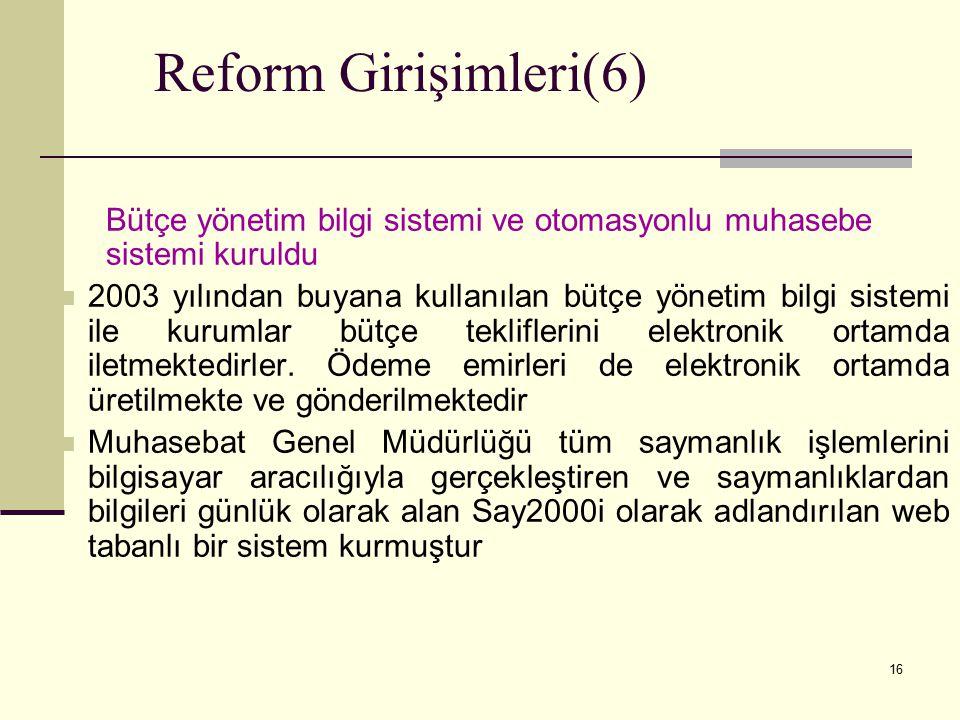 16 Reform Girişimleri(6) Bütçe yönetim bilgi sistemi ve otomasyonlu muhasebe sistemi kuruldu 2003 yılından buyana kullanılan bütçe yönetim bilgi sistemi ile kurumlar bütçe tekliflerini elektronik ortamda iletmektedirler.