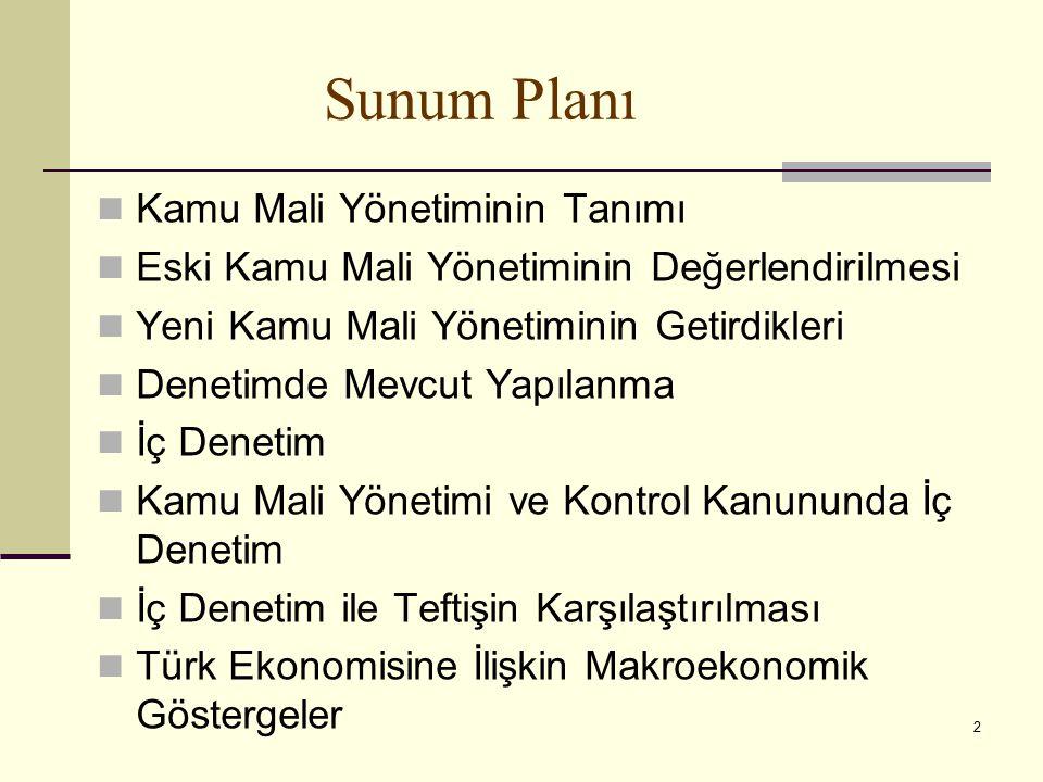 2 Sunum Planı Kamu Mali Yönetiminin Tanımı Eski Kamu Mali Yönetiminin Değerlendirilmesi Yeni Kamu Mali Yönetiminin Getirdikleri Denetimde Mevcut Yapılanma İç Denetim Kamu Mali Yönetimi ve Kontrol Kanununda İç Denetim İç Denetim ile Teftişin Karşılaştırılması Türk Ekonomisine İlişkin Makroekonomik Göstergeler