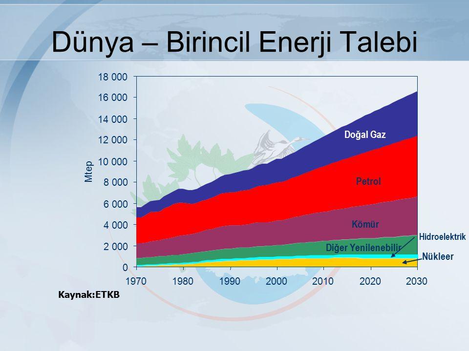 Kaynak:ETKB 0 2 000 4 000 6 000 8 000 10 000 12 000 14 000 16 000 18 000 1970198019902000201020202030 Mtep Petrol Doğal Gaz Kömür Nükleer Diğer Yenilenebilir Hidroelektrik Dünya – Birincil Enerji Talebi