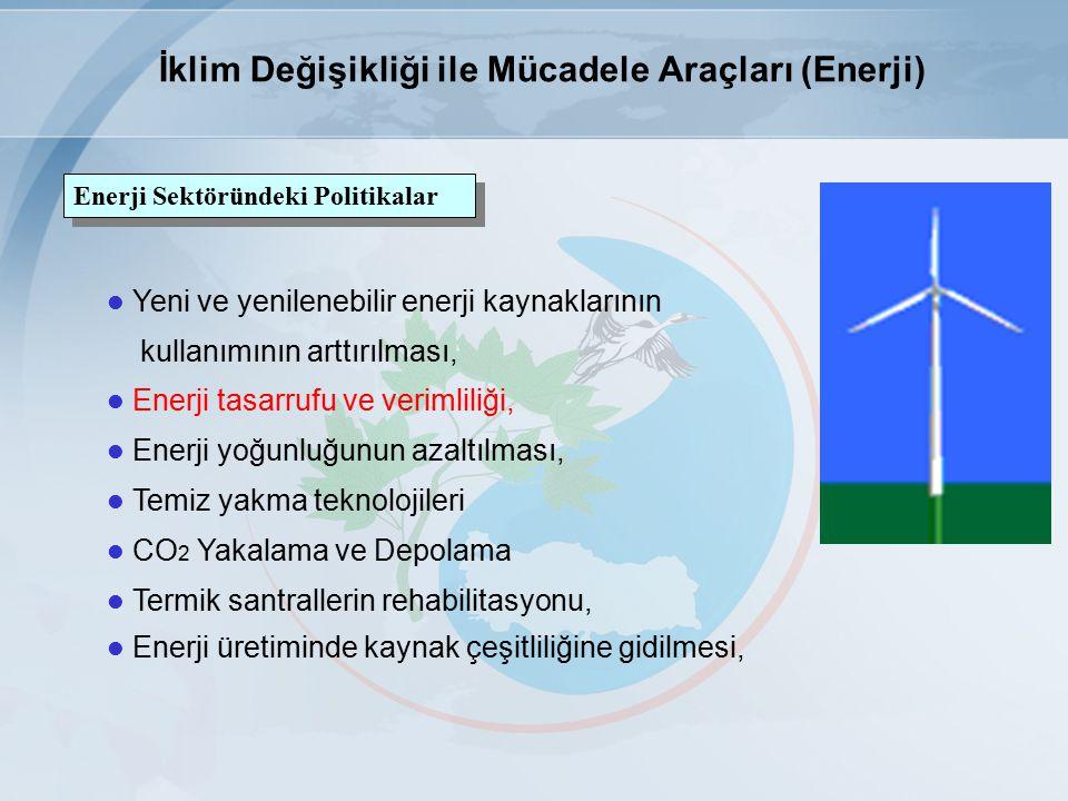 Yeni ve yenilenebilir enerji kaynaklarının kullanımının arttırılması, Enerji tasarrufu ve verimliliği, Enerji yoğunluğunun azaltılması, Temiz yakma teknolojileri CO 2 Yakalama ve Depolama Termik santrallerin rehabilitasyonu, Enerji üretiminde kaynak çeşitliliğine gidilmesi, Enerji Sektöründeki Politikalar İklim Değişikliği ile Mücadele Araçları (Enerji)
