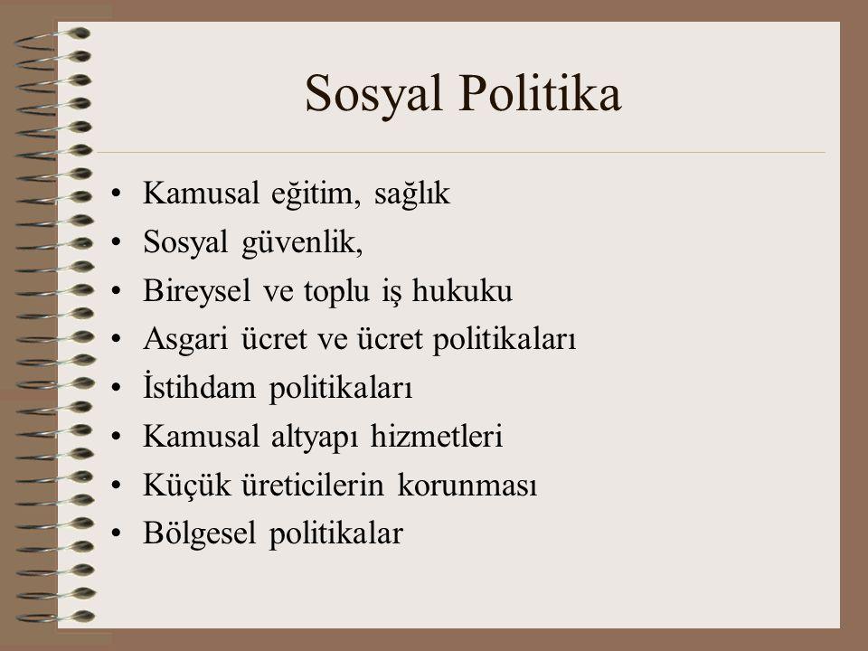 Sosyal Politika Kamusal eğitim, sağlık Sosyal güvenlik, Bireysel ve toplu iş hukuku Asgari ücret ve ücret politikaları İstihdam politikaları Kamusal a