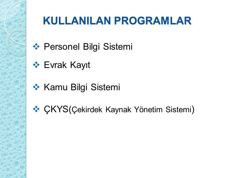 KULLANILAN PROGRAMLAR  Personel Bilgi Sistemi  Evrak Kayıt  Kamu Bilgi Sistemi  ÇKYS( Çekirdek Kaynak Yönetim Sistemi )