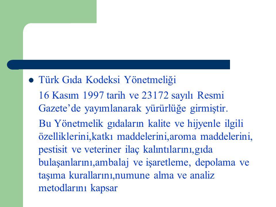 Türk Gıda Kodeksi Yönetmeliği 16 Kasım 1997 tarih ve 23172 sayılı Resmi Gazete'de yayımlanarak yürürlüğe girmiştir.