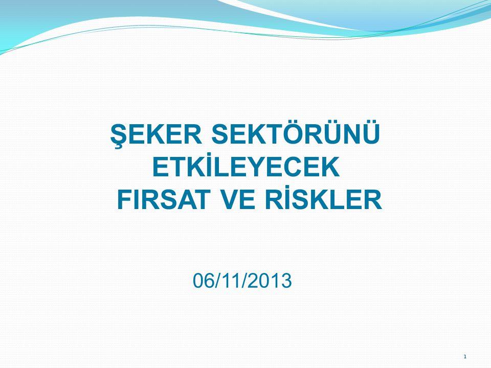 1 ŞEKER SEKTÖRÜNÜ ETKİLEYECEK FIRSAT VE RİSKLER 06/11/2013