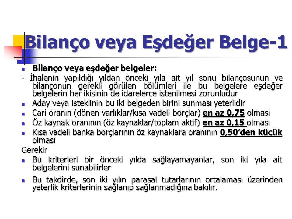 Bilanço veya Eşdeğer Belge-1 Bilanço veya eşdeğer belgeler: Bilanço veya eşdeğer belgeler: - İhalenin yapıldığı yıldan önceki yıla ait yıl sonu bilanç