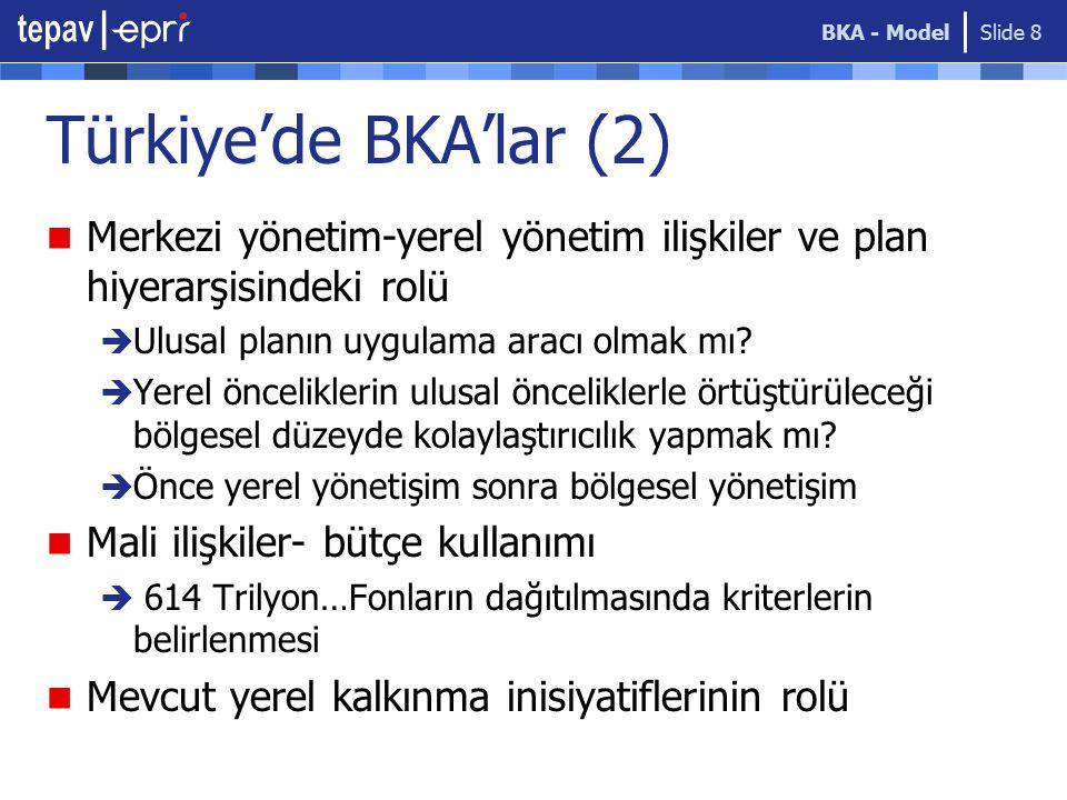 BKA - Model Slide 8 Türkiye'de BKA'lar (2) Merkezi yönetim-yerel yönetim ilişkiler ve plan hiyerarşisindeki rolü  Ulusal planın uygulama aracı olmak mı.