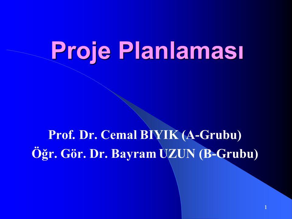Proje Planlaması Prof. Dr. Cemal BIYIK (A-Grubu) Öğr. Gör. Dr. Bayram UZUN (B-Grubu) 1