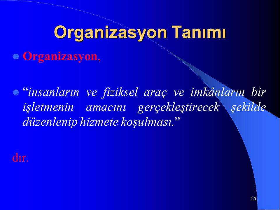 """Organizasyon Tanımı Organizasyon, """"insanların ve fiziksel araç ve imkânların bir işletmenin amacını gerçekleştirecek şekilde düzenlenip hizmete koşulm"""