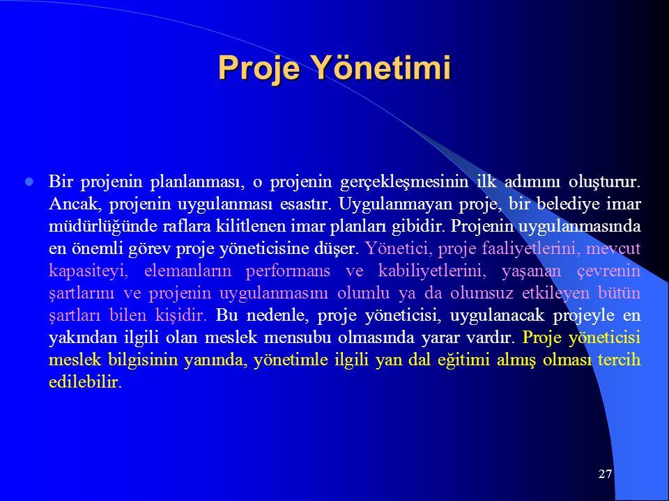 Proje Yönetimi Bir projenin planlanması, o projenin gerçekleşmesinin ilk adımını oluşturur. Ancak, projenin uygulanması esastır. Uygulanmayan proje, b