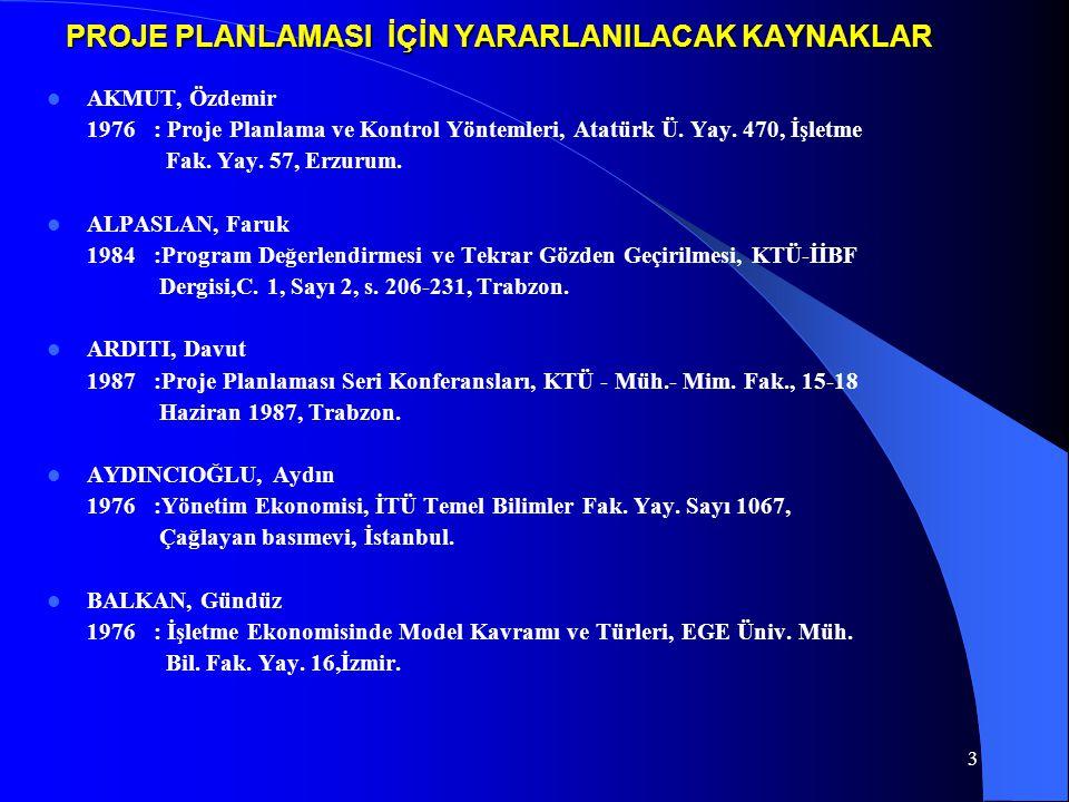 BIYIK, Cemal 1987: Kadastroda Yönetimin Üretime Olan Etkileri, Türkiye 1.
