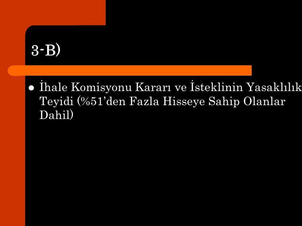 3-B) İhale Komisyonu Kararı ve İsteklinin Yasaklılık Teyidi (%51'den Fazla Hisseye Sahip Olanlar Dahil)