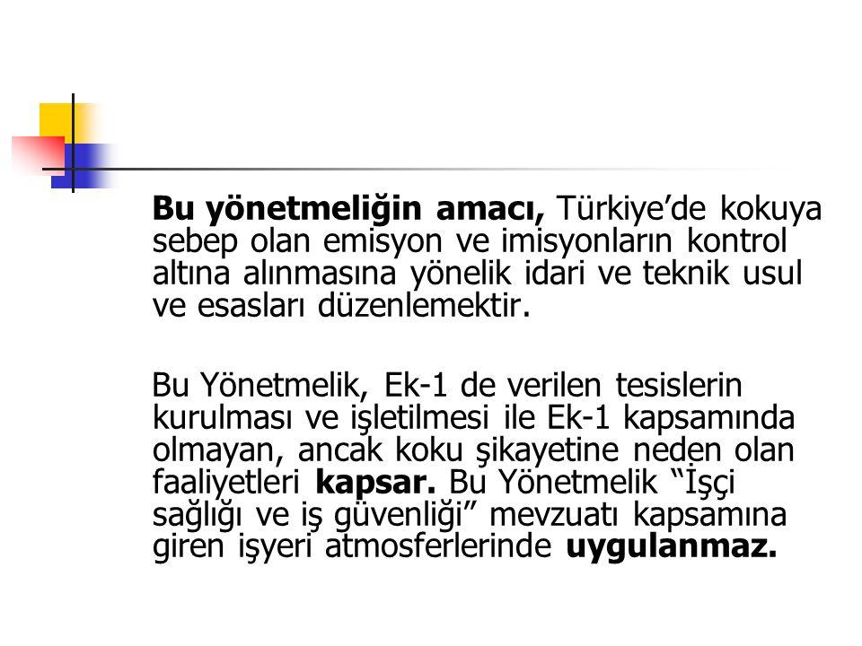 Bu yönetmeliğin amacı, Türkiye'de kokuya sebep olan emisyon ve imisyonların kontrol altına alınmasına yönelik idari ve teknik usul ve esasları düzenle