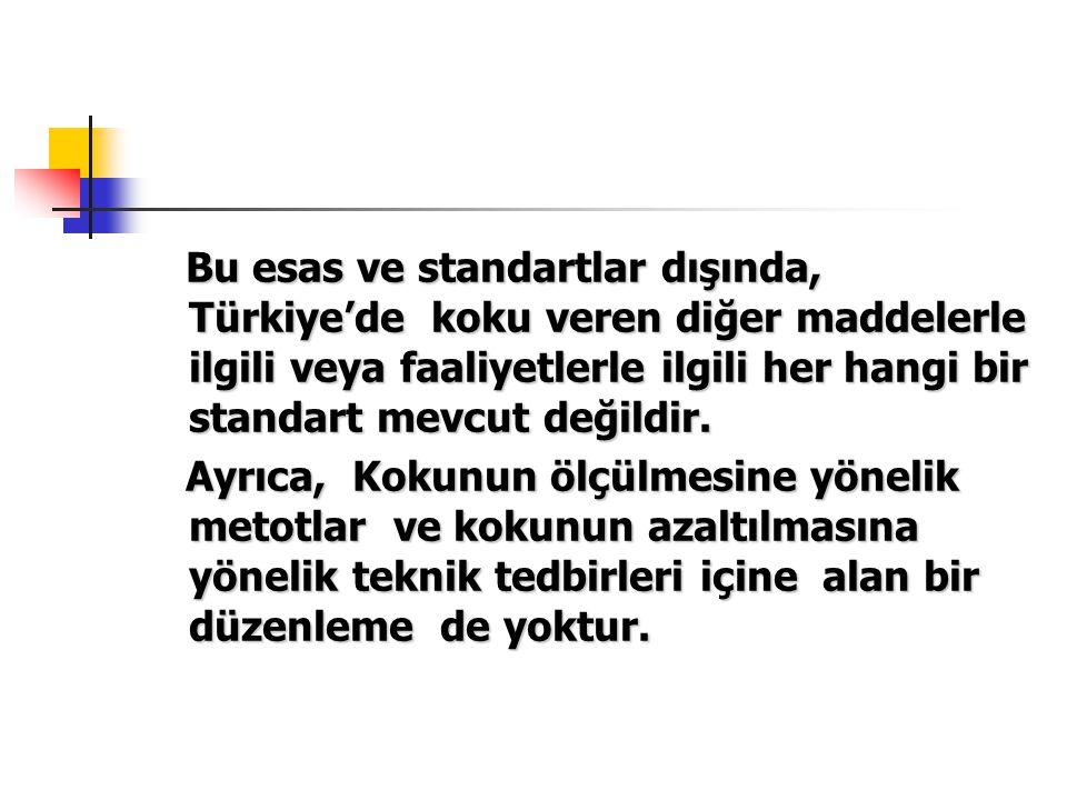 Bu esas ve standartlar dışında, Türkiye'de koku veren diğer maddelerle ilgili veya faaliyetlerle ilgili her hangi bir standart mevcut değildir. Bu esa