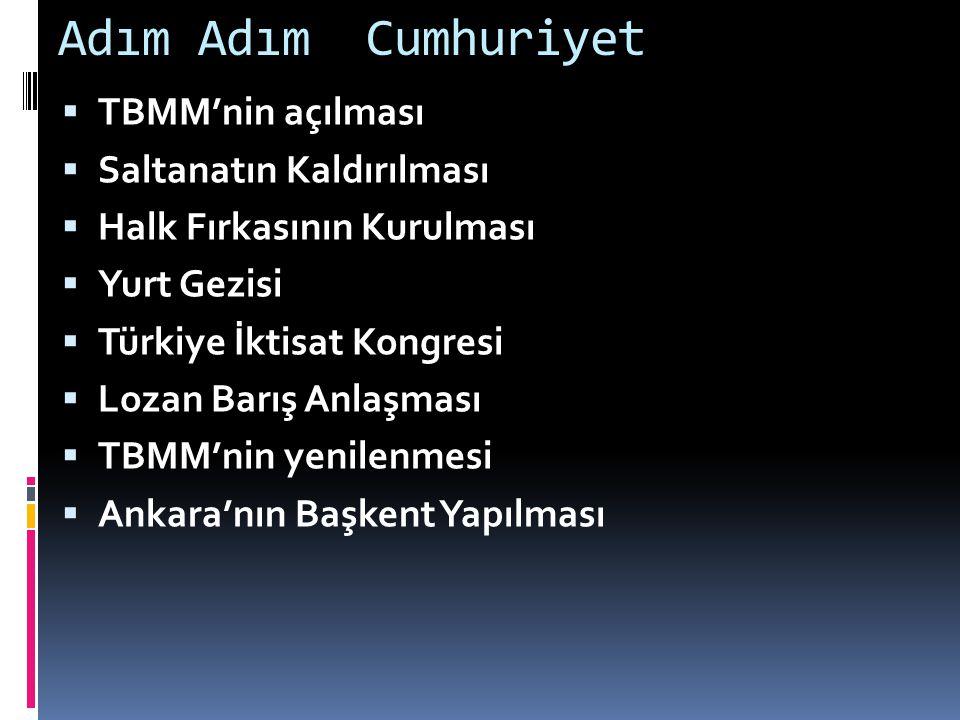 Adım Adım Cumhuriyet  TBMM'nin açılması  Saltanatın Kaldırılması  Halk Fırkasının Kurulması  Yurt Gezisi  Türkiye İktisat Kongresi  Lozan Barış