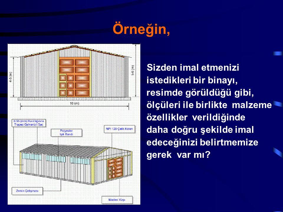 Örneğin, Sizden imal etmenizi istedikleri bir binayı, resimde görüldüğü gibi, ölçüleri ile birlikte malzeme özellikler verildiğinde daha doğru şekilde
