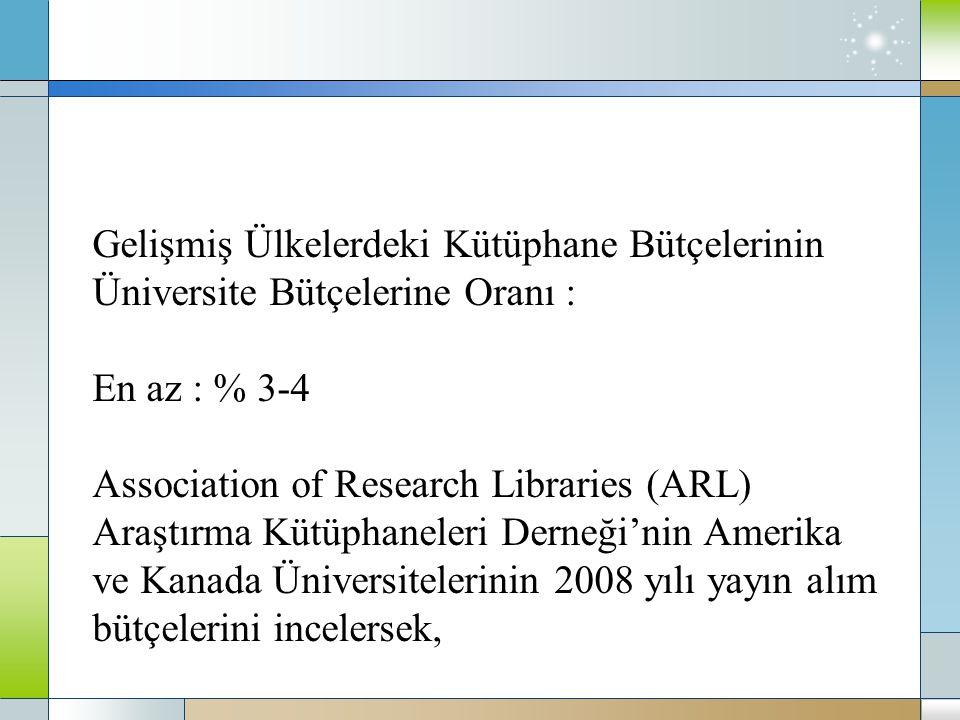 Gelişmiş Ülkelerdeki Kütüphane Bütçelerinin Üniversite Bütçelerine Oranı : En az : % 3-4 Association of Research Libraries (ARL) Araştırma Kütüphaneleri Derneği'nin Amerika ve Kanada Üniversitelerinin 2008 yılı yayın alım bütçelerini incelersek,