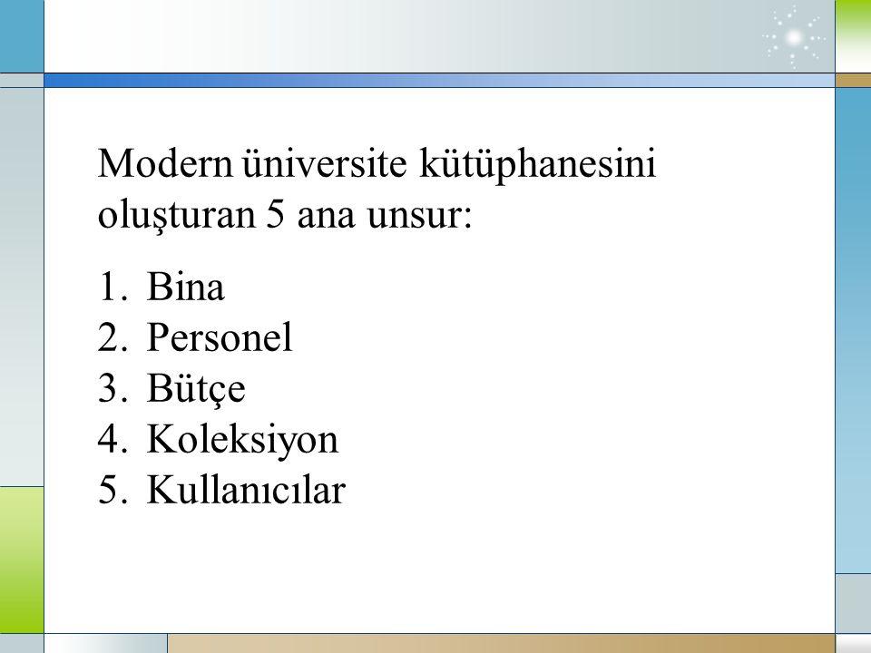 Modern üniversite kütüphanesini oluşturan 5 ana unsur: 1.Bina 2.Personel 3.Bütçe 4.Koleksiyon 5.Kullanıcılar