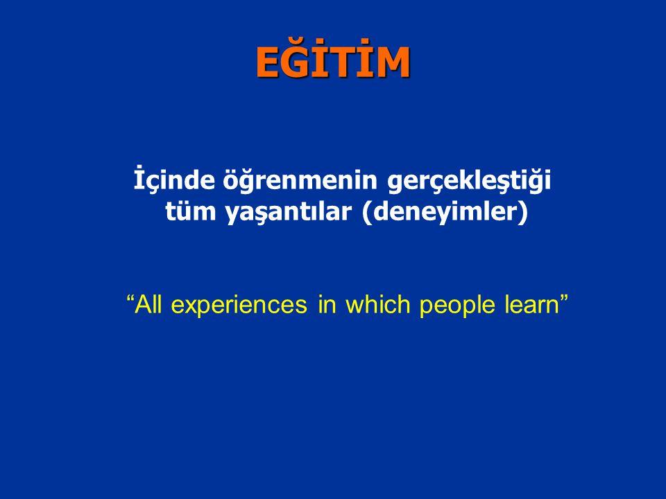 """İçinde öğrenmenin gerçekleştiği tüm yaşantılar (deneyimler) """"All experiences in which people learn"""" EĞİTİM"""