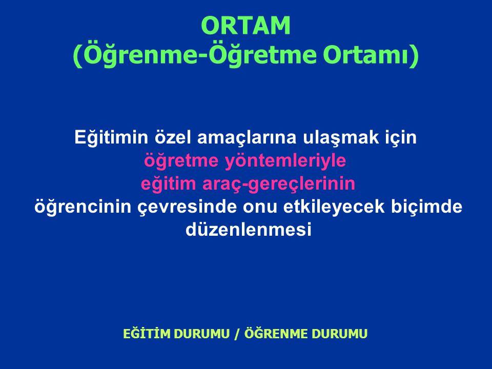 ORTAM (Öğrenme-Öğretme Ortamı) Eğitimin özel amaçlarına ulaşmak için öğretme yöntemleriyle eğitim araç-gereçlerinin öğrencinin çevresinde onu etkileye