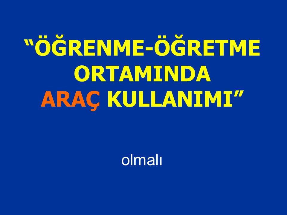 """""""ÖĞRENME-ÖĞRETME ORTAMINDA ARAÇ KULLANIMI"""" olmalı"""