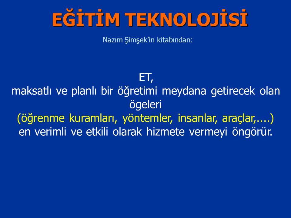 Nazım Şimşek'in kitabından: ET, maksatlı ve planlı bir öğretimi meydana getirecek olan ögeleri (öğrenme kuramları, yöntemler, insanlar, araçlar,....)