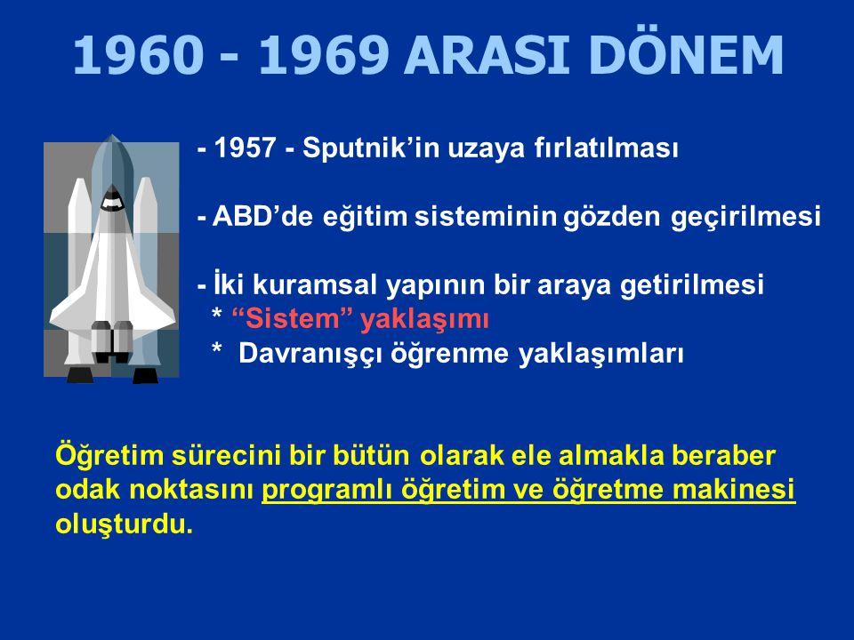 1960 - 1969 ARASI DÖNEM - 1957 - Sputnik'in uzaya fırlatılması - ABD'de eğitim sisteminin gözden geçirilmesi - İki kuramsal yapının bir araya getirilm