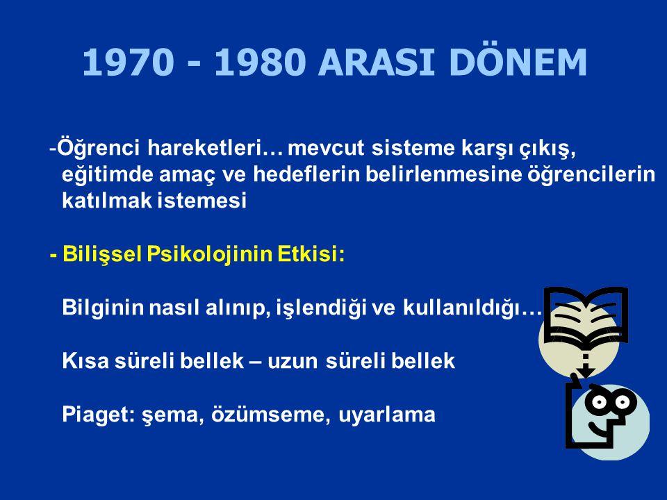 1970 - 1980 ARASI DÖNEM -Öğrenci hareketleri… mevcut sisteme karşı çıkış, eğitimde amaç ve hedeflerin belirlenmesine öğrencilerin katılmak istemesi -