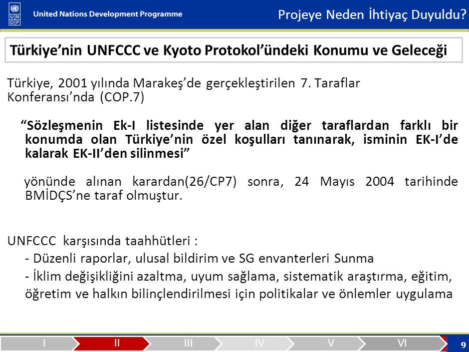 10 BMİDÇSListelerÜlkelerSorumluluklar Ek-1OECD + AB + PEGSÜ (40 ülke) Emisyon Azaltımı Ek-2OECD + AB-15 (25 ülke) Türkiye (hariç) Teknoloji Transferi ve Mali Destek Sağlamak Ek-1 DışıDiğer Ülkeler (Çin, Hindistan, Pakistan, Meksika, Brezilya, …) Yükümlülükleri yok KPEk-BEk-1 Ülkeleri (38 ülke) Türkiye ve Belarus (hariç) 2008-2012 arası dönem için 1990 seviyesine göre sera gazı emisyonlarında %5 azaltım Türkiye'nin UNFCCC ve Kyoto Protokol'ündeki Konumu ve Geleceği Projeye Neden İhtiyaç Duyuldu?