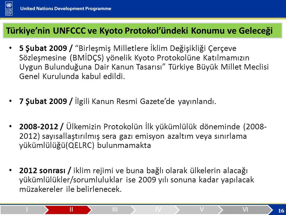 16 Türkiye'nin UNFCCC ve Kyoto Protokol'ündeki Konumu ve Geleceği 5 Şubat 2009 / Birleşmiş Milletlere İklim Değişikliği Çerçeve Sözleşmesine (BMİDÇS) yönelik Kyoto Protokolüne Katılmamızın Uygun Bulunduğuna Dair Kanun Tasarısı Türkiye Büyük Millet Meclisi Genel Kurulunda kabul edildi.