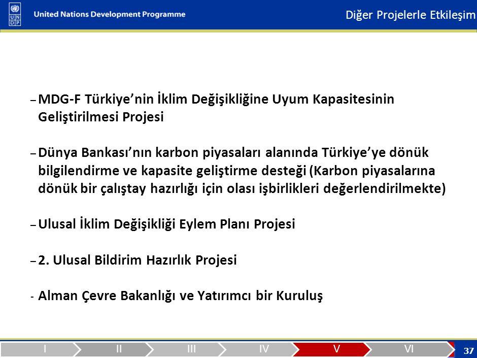 37 – MDG-F Türkiye'nin İklim Değişikliğine Uyum Kapasitesinin Geliştirilmesi Projesi – Dünya Bankası'nın karbon piyasaları alanında Türkiye'ye dönük bilgilendirme ve kapasite geliştirme desteği (Karbon piyasalarına dönük bir çalıştay hazırlığı için olası işbirlikleri değerlendirilmekte) – Ulusal İklim Değişikliği Eylem Planı Projesi – 2.