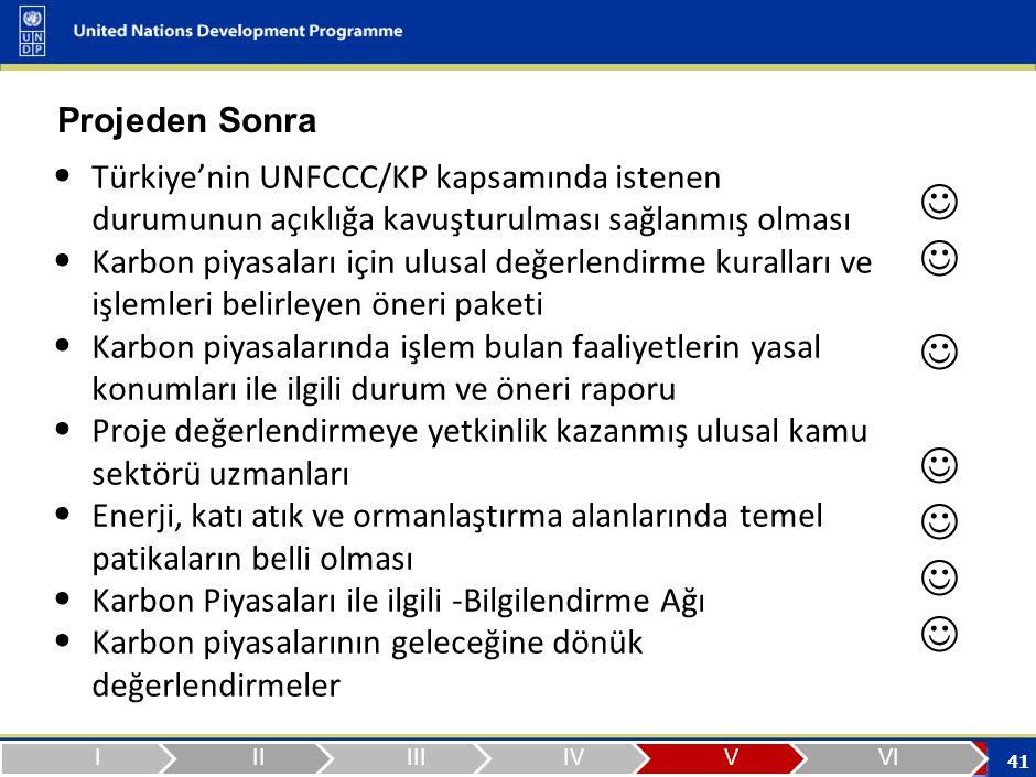 41 Projeden Sonra Türkiye'nin UNFCCC/KP kapsamında istenen durumunun açıklığa kavuşturulması sağlanmış olması Karbon piyasaları için ulusal değerlendirme kuralları ve işlemleri belirleyen öneri paketi Karbon piyasalarında işlem bulan faaliyetlerin yasal konumları ile ilgili durum ve öneri raporu Proje değerlendirmeye yetkinlik kazanmış ulusal kamu sektörü uzmanları Enerji, katı atık ve ormanlaştırma alanlarında temel patikaların belli olması Karbon Piyasaları ile ilgili -Bilgilendirme Ağı Karbon piyasalarının geleceğine dönük değerlendirmeler