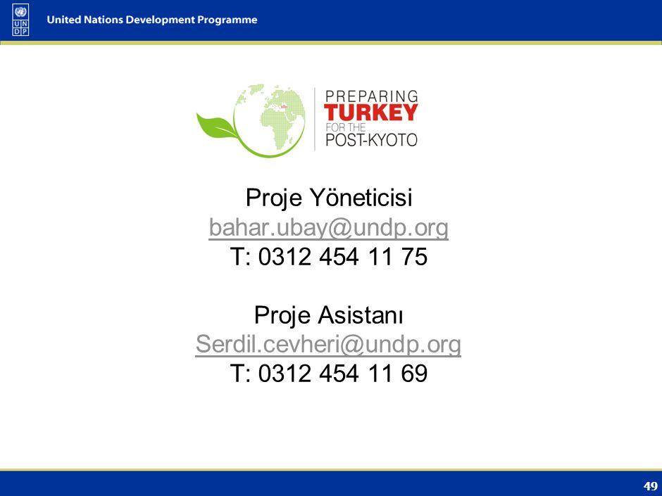 49 İrtibat için : Proje Yöneticisi bahar.ubay@undp.org T: 0312 454 11 75 Proje Asistanı Serdil.cevheri@undp.org T: 0312 454 11 69