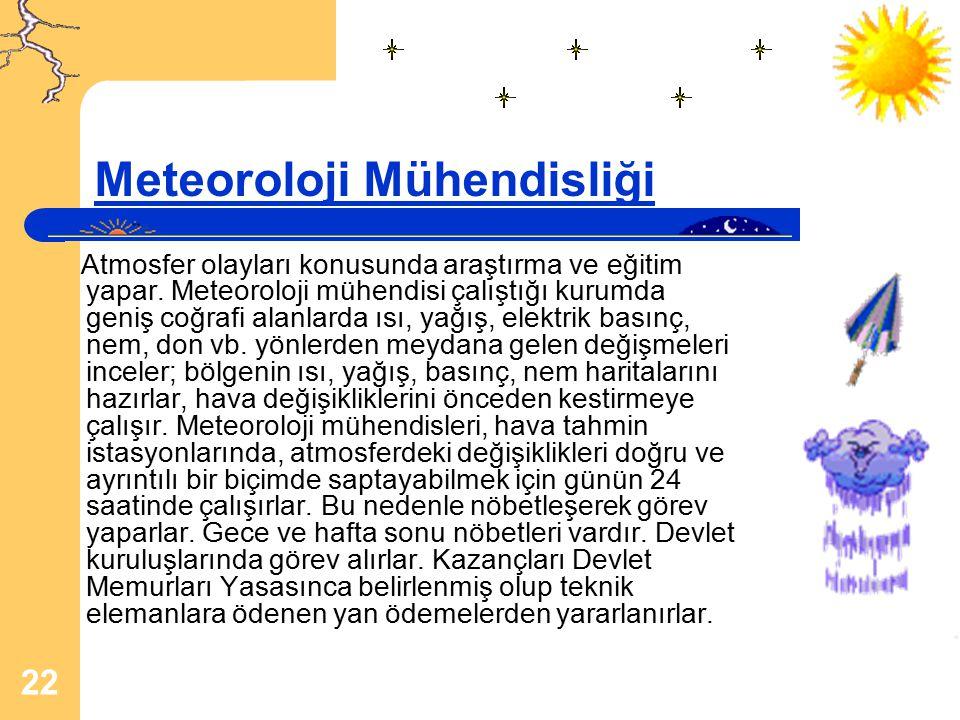 22 Meteoroloji Mühendisliği Atmosfer olayları konusunda araştırma ve eğitim yapar. Meteoroloji mühendisi çalıştığı kurumda geniş coğrafi alanlarda ısı