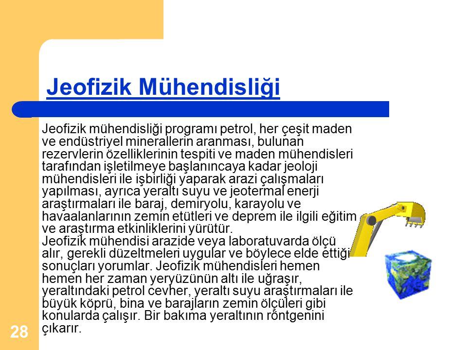 28 Jeofizik mühendisliği programı petrol, her çeşit maden ve endüstriyel minerallerin aranması, bulunan rezervlerin özelliklerinin tespiti ve maden mü