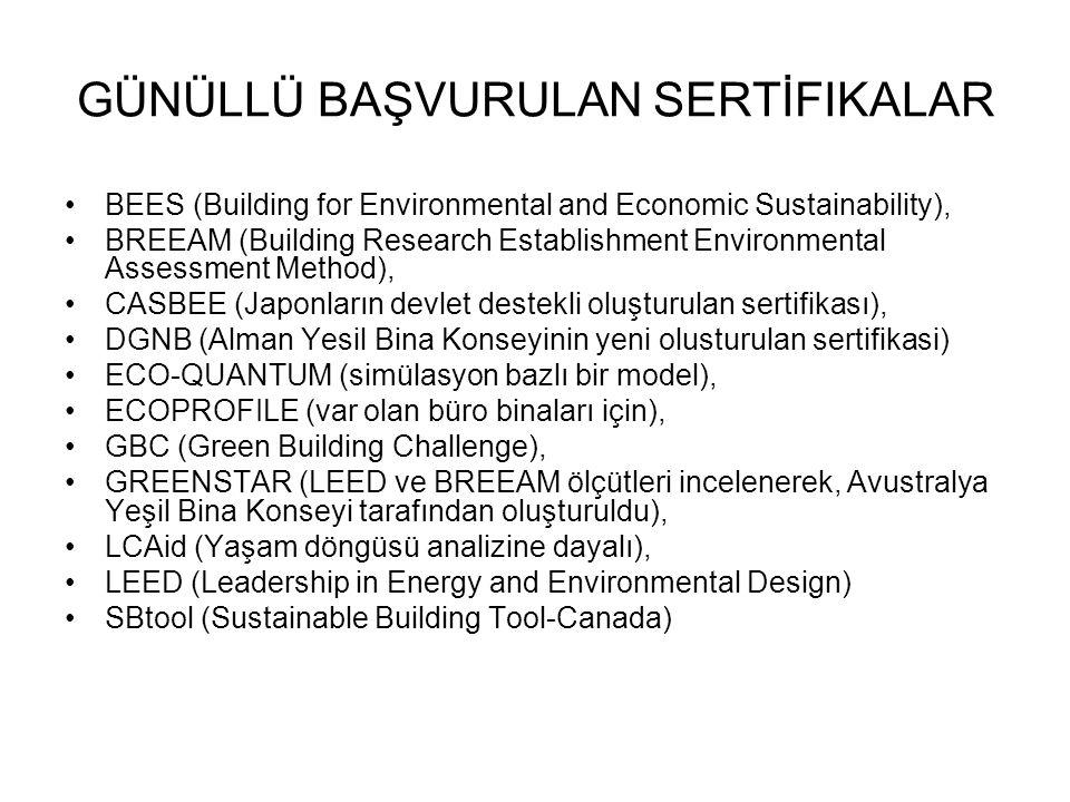 GÜNÜLLÜ BAŞVURULAN SERTİFIKALAR BEES (Building for Environmental and Economic Sustainability), BREEAM (Building Research Establishment Environmental Assessment Method), CASBEE (Japonların devlet destekli oluşturulan sertifikası), DGNB (Alman Yesil Bina Konseyinin yeni olusturulan sertifikasi) ECO-QUANTUM (simülasyon bazlı bir model), ECOPROFILE (var olan büro binaları için), GBC (Green Building Challenge), GREENSTAR (LEED ve BREEAM ölçütleri incelenerek, Avustralya Yeşil Bina Konseyi tarafından oluşturuldu), LCAid (Yaşam döngüsü analizine dayalı), LEED (Leadership in Energy and Environmental Design) SBtool (Sustainable Building Tool-Canada)