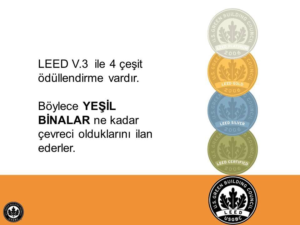 LEED V.3 ile 4 çeşit ödüllendirme vardır.