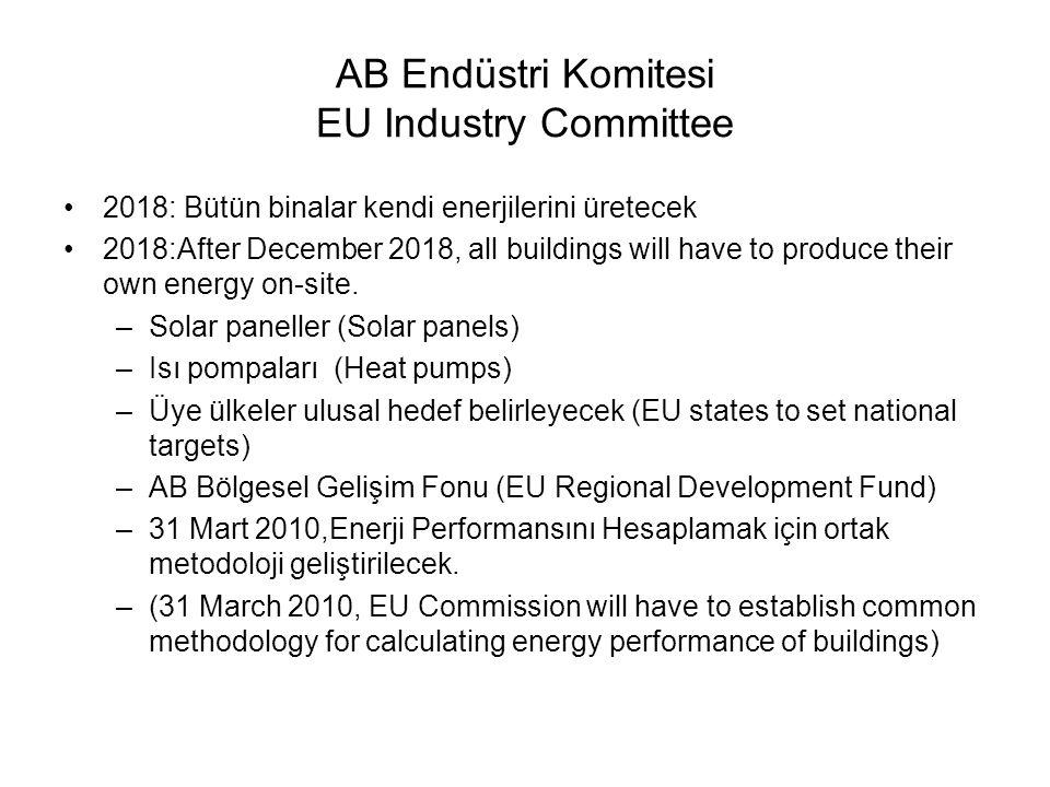 AB Endüstri Komitesi EU Industry Committee 2018: Bütün binalar kendi enerjilerini üretecek 2018:After December 2018, all buildings will have to produce their own energy on-site.