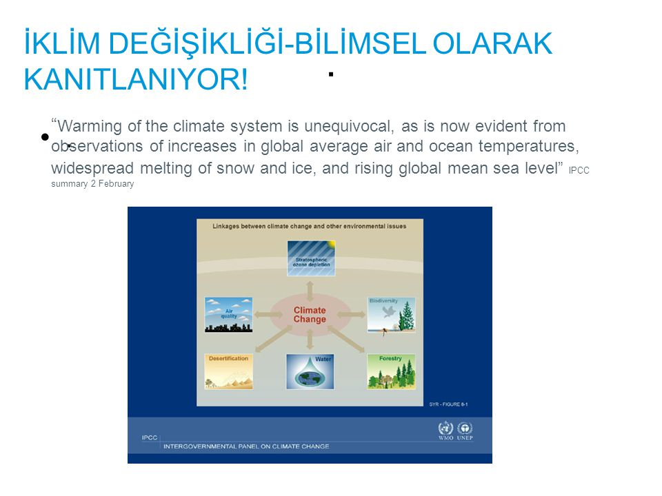 ".. İKLİM DEĞİŞİKLİĞİ-BİLİMSEL OLARAK KANITLANIYOR! "" Warming of the climate system is unequivocal, as is now evident from observations of increases in"